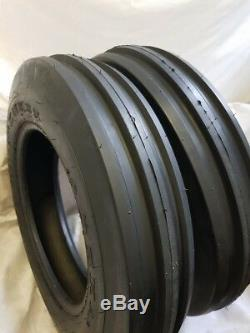 (2 TIRES + 2 TUBES) 6.50-16 8 PLY KNK35 3-Rib Farm Tractor Tires WithTube 6.50x16