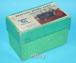 BRITAINS LEAD FARM #128F FORDSON MAJOR TRACTOR E27N RUBBER TYRES BOXED 1930s