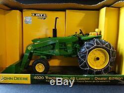 Ertl John Deere 4020 & 48 Loader Tire Chain Farm Tractor 116 Diecast Dealer Toy