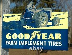 Old Style Goodyear Tire & Rubber Farm Implement Tractor Diecut Steel Flange Sign