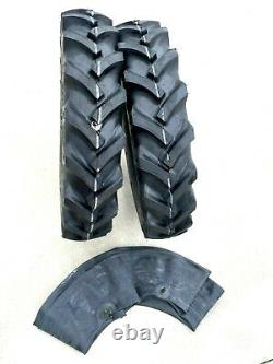 TWO 6.50-16, 6.50x16 R1 Farm Tractor Tires WithTubes Lug 650-16 Front