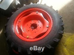 TWO 9.5x24 Kubota 8 Ply Farm Tractor Tires withWheels & 6 Hole Centers