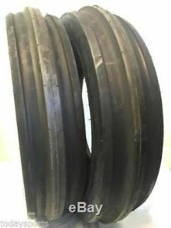 Two New 7.50-15 Front Tractor Tires Tri Rib F2 750 15 7.5L-15 3 Rib Tubeless