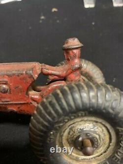 Vintage Arcade Cast Iron Balloon Tire Tractor and Driver Toy Farm Feed Seed