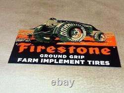 Vintage Firestone Ground Grip Tires + Farm Tractor 12 Metal Gasoline & Oil Sign