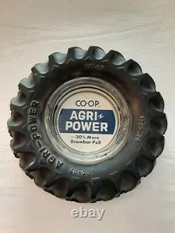 Vintage RARE Agri Power Farm Tractor Tire Glass Rubber Advertising Ashtray